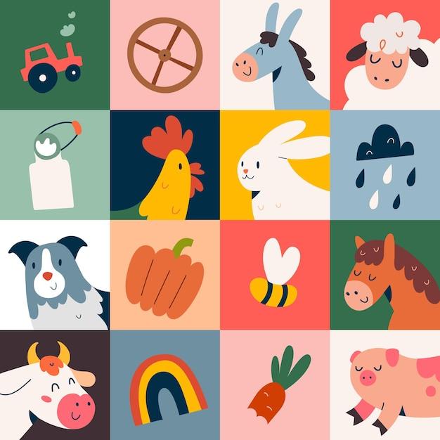 Plakat Z Ilustracjami Uroczych Zwierząt Gospodarskich Premium Wektorów