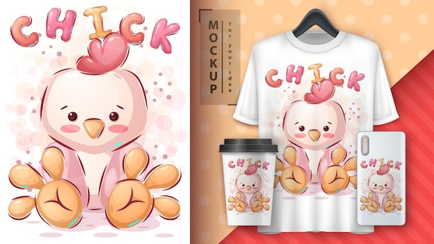 Plakat Z Kurczakiem I Merchandising Darmowych Wektorów