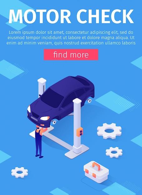 Plakat Z Mediami Reklamuje Serwis Samochodowy Motor Check Premium Wektorów
