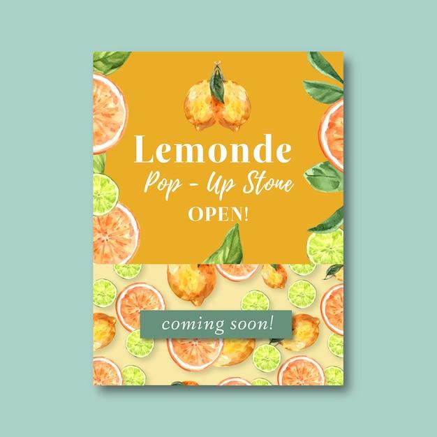 Plakat Z Motywem Owoce, Kreatywny Pomarańczowy Szablon Ilustracji Akwarela. Darmowych Wektorów
