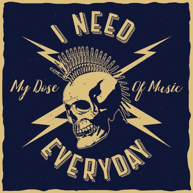 Plakat Z Muzyką Rockową Z Frazą Potrzebuję Mojej Dawki Muzyki Każdego Dnia Darmowych Wektorów