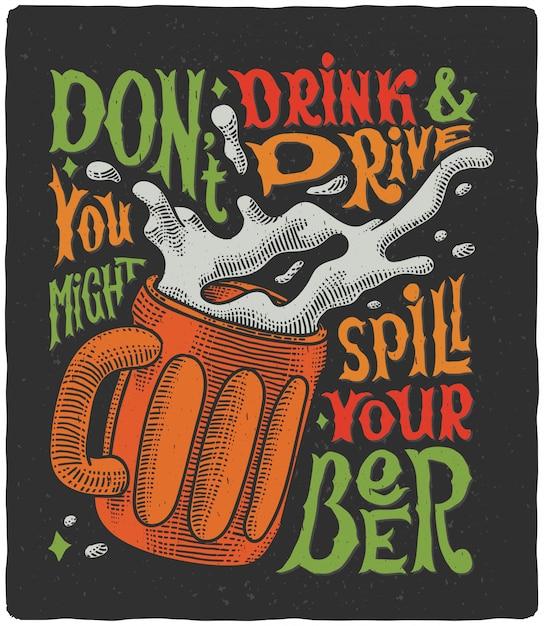 Plakat Z Napisem Z Kuflem Piwa Darmowych Wektorów