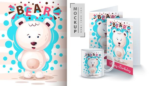 Plakat z niedźwiedziem polarnym i merchandising Premium Wektorów