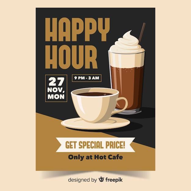 Plakat z ofertą happy hour coffee Darmowych Wektorów