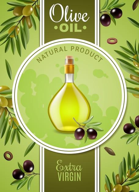 Plakat z oliwą z oliwek z pierwszego tłoczenia Darmowych Wektorów