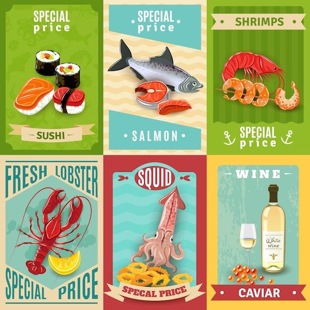 Plakat Z Owocami Morza Darmowych Wektorów