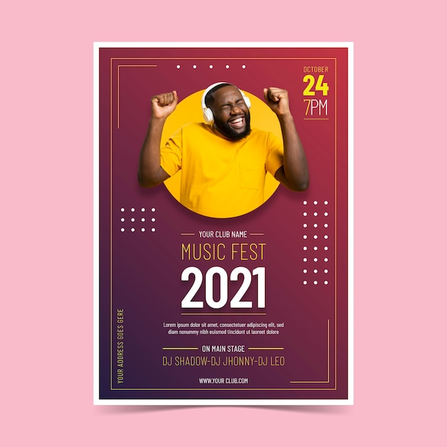 Plakat Z Wydarzeniem Muzycznym 2021 Darmowych Wektorów