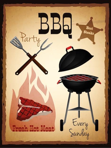 Plakat zaproszenie na imprezę bbq Premium Wektorów