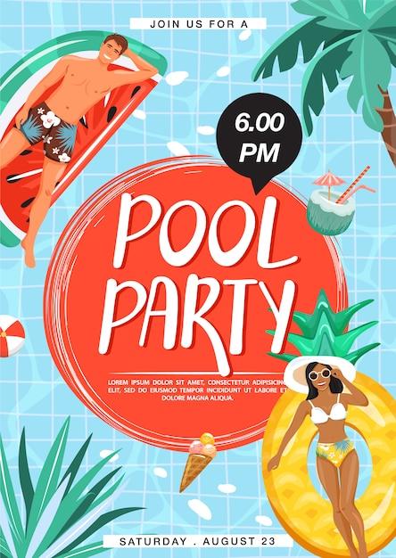 Plakat zaproszenie na przyjęcie przy basenie Premium Wektorów