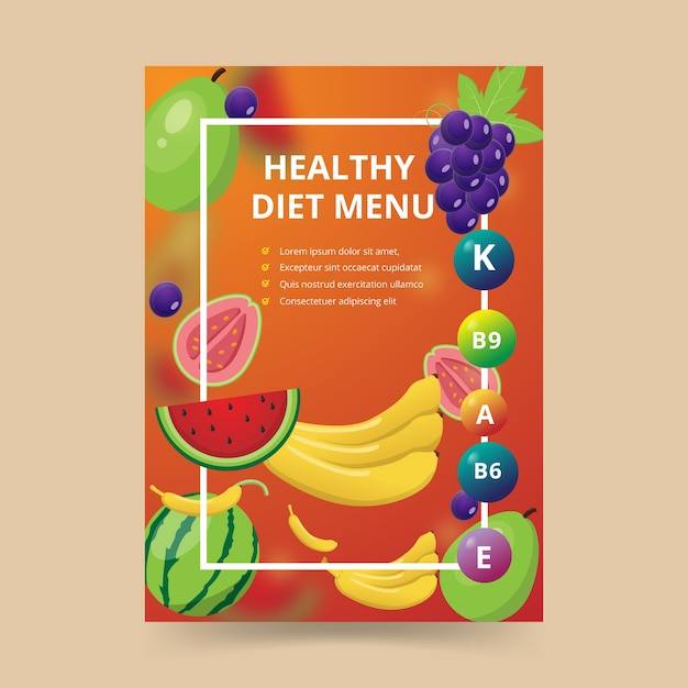 Plakat żywności Dla Menu Zdrowej Diety Darmowych Wektorów