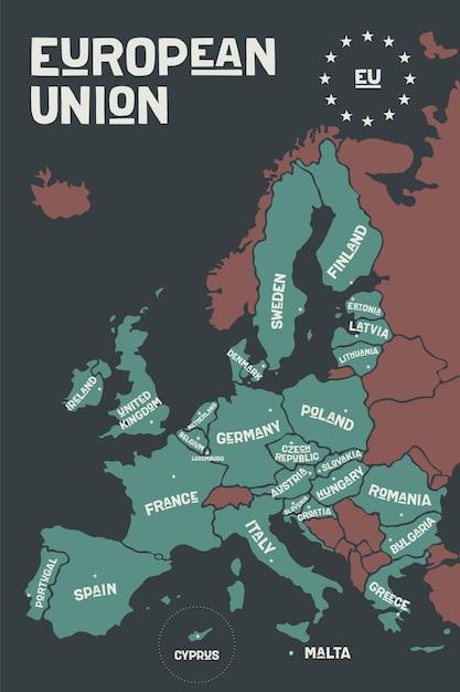 Plakatowa Mapa Unii Europejskiej Z Nazwami Krajów I Stolicami. Premium Wektorów