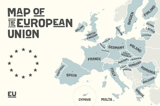 Plakatowa Mapa Unii Europejskiej Z Nazwami Krajów Premium Wektorów