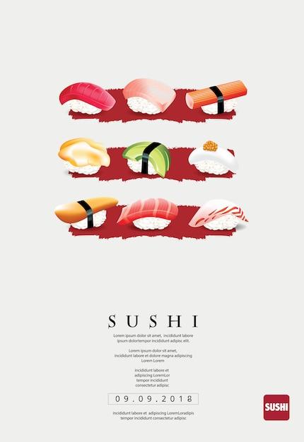 Plakatowy szablon dla restauraci sushi lub sushibar Premium Wektorów