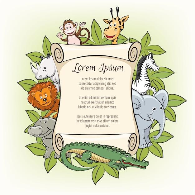 Plakatowy szablon z zoo zwierzętami Premium Wektorów