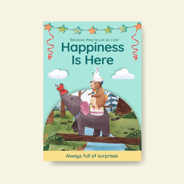 Plakatowy Szablon Ze Szczęśliwymi Zwierzętami Ilustracja Koncepcja Akwarela Premium Wektorów