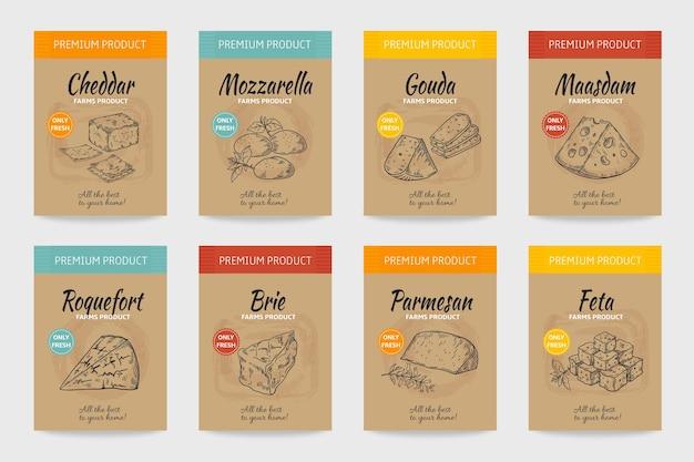 Plakaty Serowe. Szkic Vintage żywności Dla Smakoszy, Ekologiczne Menu, Pakiet Serów I Produktów Mlecznych. Premium Wektorów