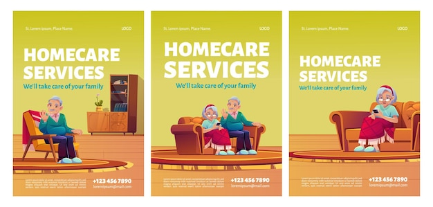 Plakaty Usług Opieki Domowej Darmowych Wektorów