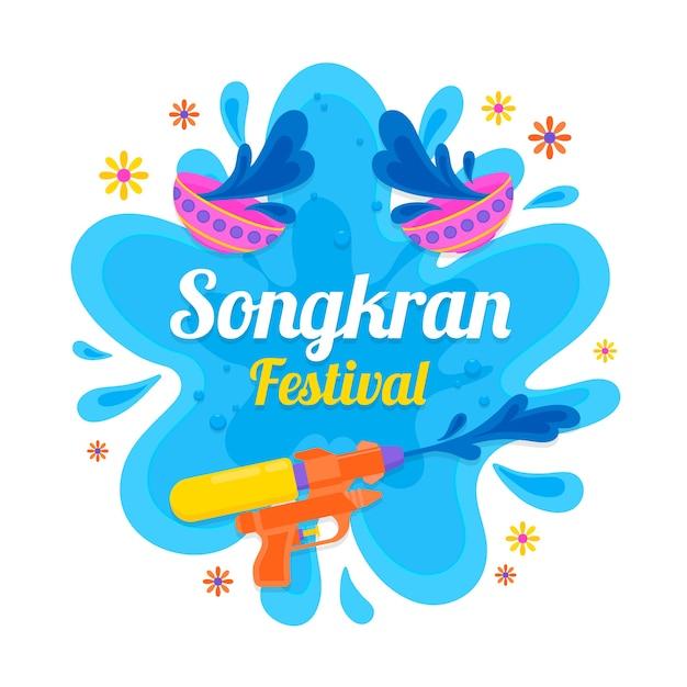 Plama Wody Songkran I Pistoletu Wodnego Darmowych Wektorów