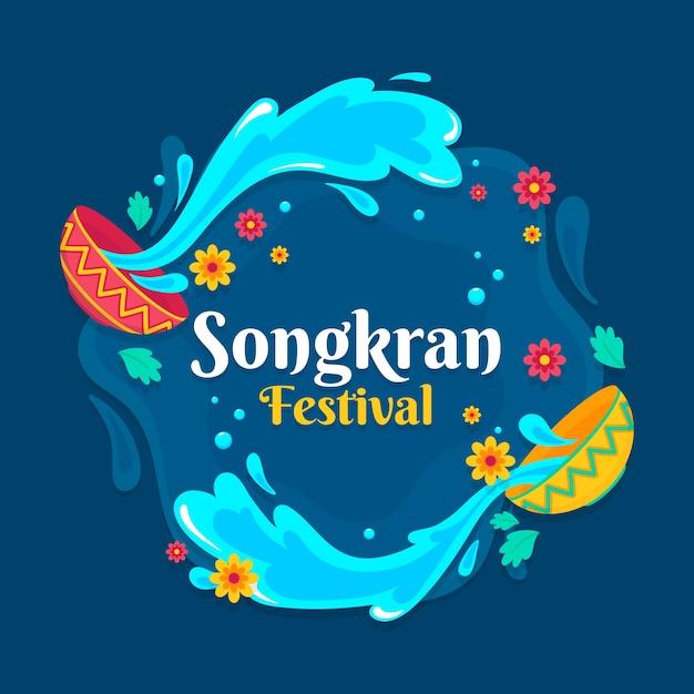 Plamy Z Wody Z Imprezy Songkran Miski Darmowych Wektorów