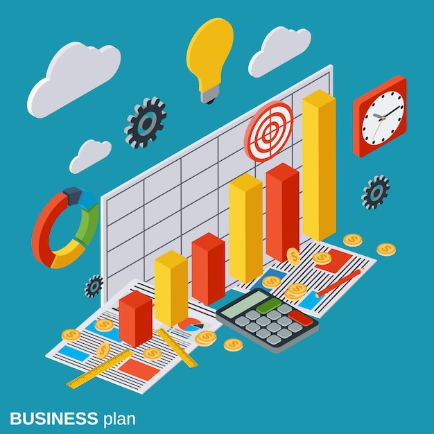 Plan biznesowy izometryczny wektor ilustracja koncepcja Premium Wektorów