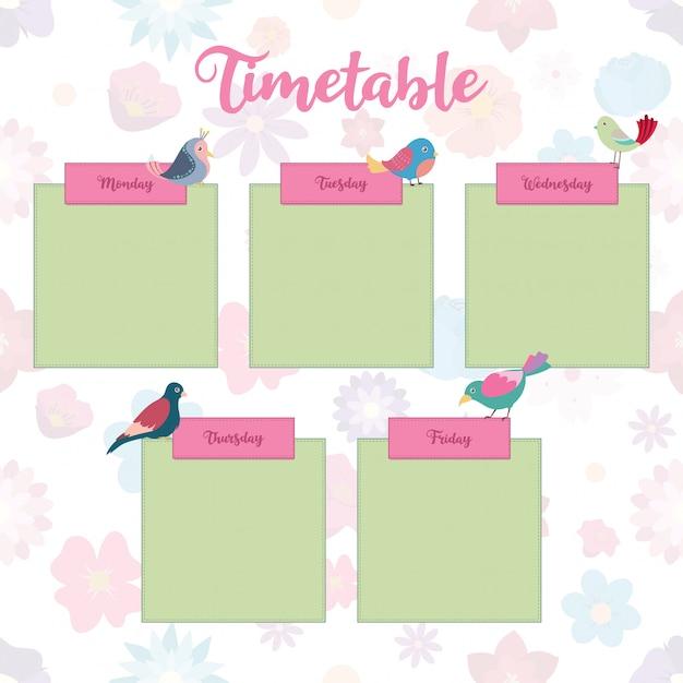 Plan lekcji z kolorowymi ptakami Premium Wektorów