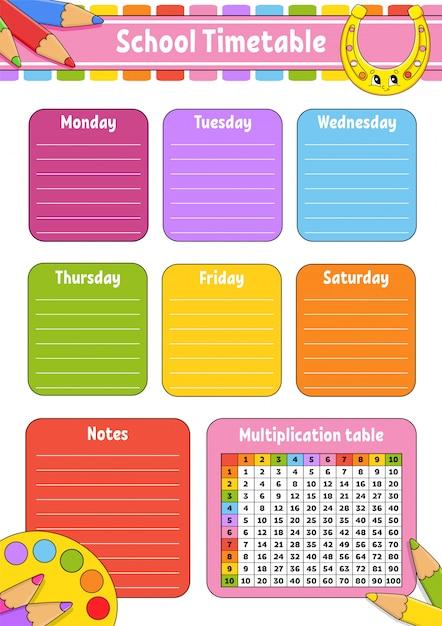 Plan Lekcji Z Tabliczką Mnożenia. Do Edukacji Dzieci. Premium Wektorów