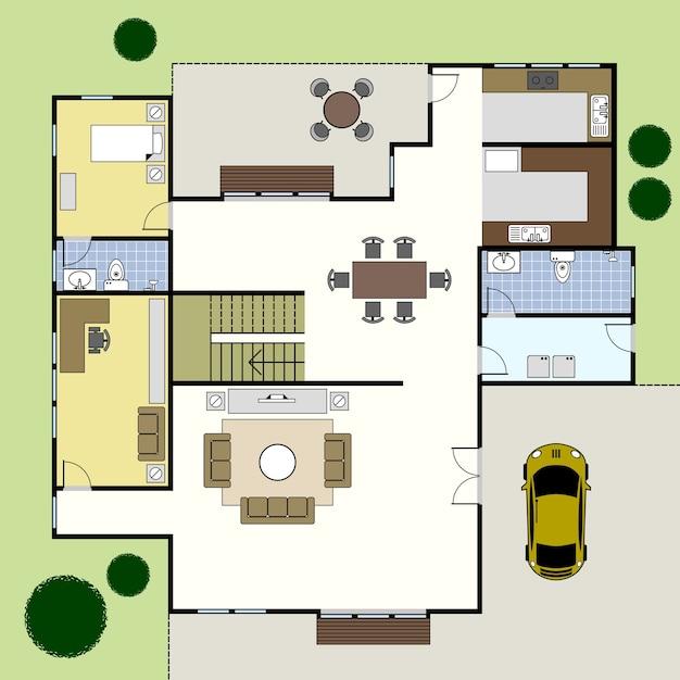 Plan Piętra Architektura Domu. Premium Wektorów