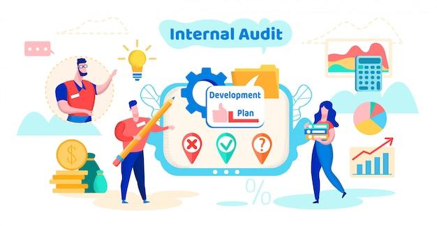 Plan rozwoju audytu wewnętrznego cartoon flat. Premium Wektorów