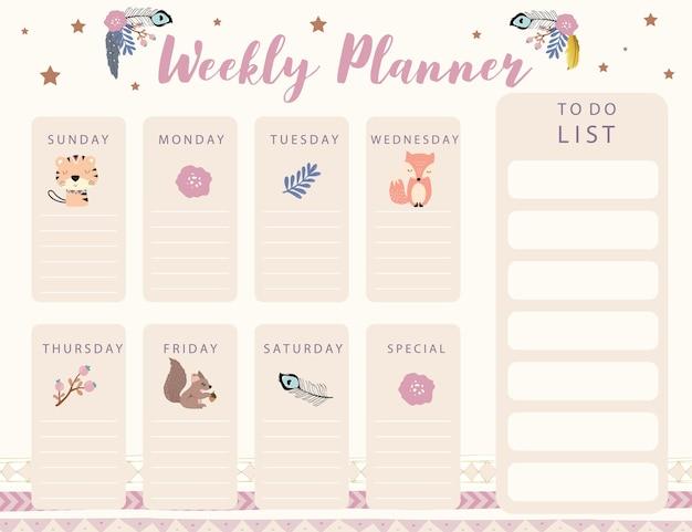 Planer Kalendarza Leśnego Z Kwiatem Lisich Piór Premium Wektorów