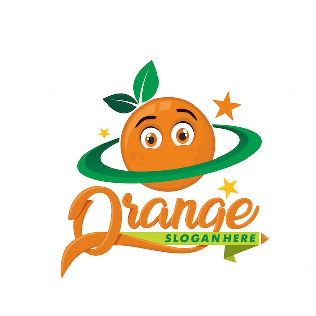 Planet orange logo maskotka Premium Wektorów