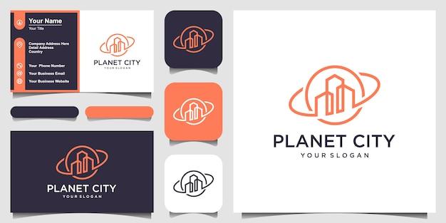 Planeta Nieruchomości Koncepcja Logo Kreatywnych I Projektowanie Wizytówek Premium Wektorów
