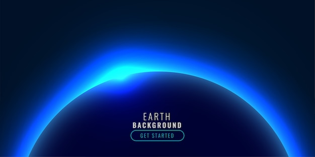 Planeta W Stylu Technologii Z Niebieskim świecącym światłem Darmowych Wektorów