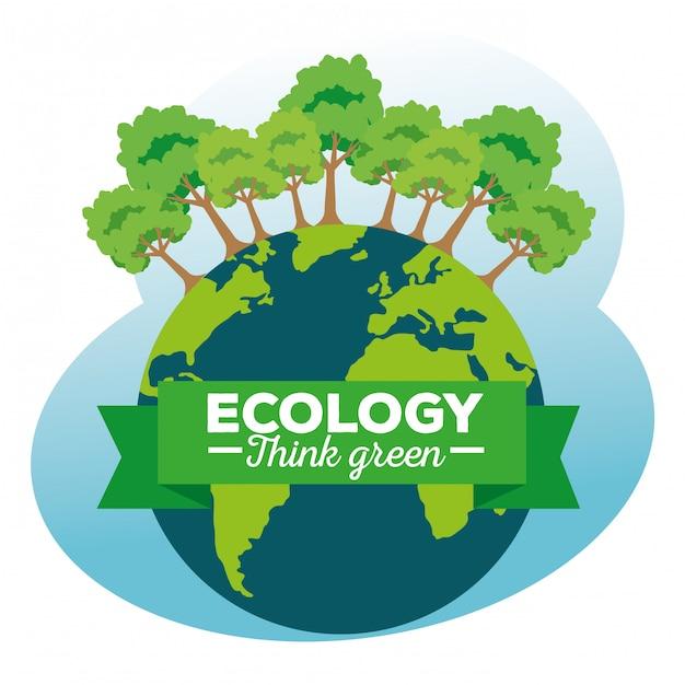 Planeta Ziemia Z Ekologii Drzew I Wstążki Premium Wektorów