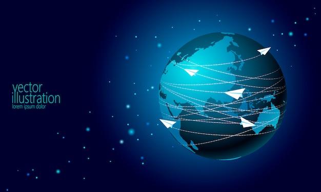 Planeta Ziemia Z Papierowy Samolot Wiadomości Listów Tło Premium Wektorów
