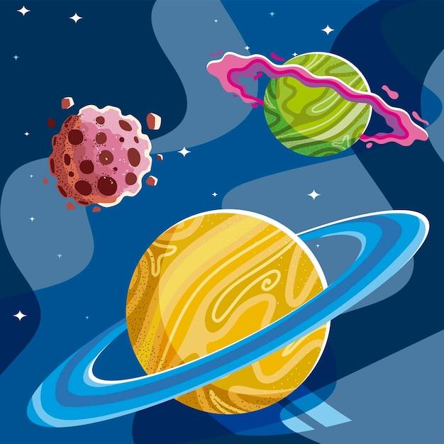 Planety Kosmiczne Galaktyka Pierścień Asteroida Gwiazdy Tekstury Ilustracja Premium Wektorów