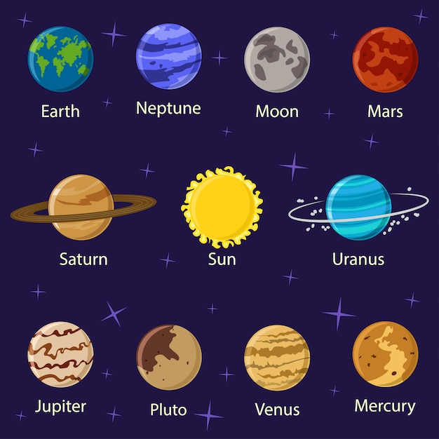Planety układ słoneczny wektor kreskówka płaskie ikony na białym tle na przestrzeni z gwiazdami. Premium Wektorów