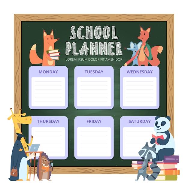 Planner Dla Dzieci. Organizacja Osobistej Listy Szkolnej Na Tydzień Zabawnych Kreskówek Zwierząt Premium Wektorów