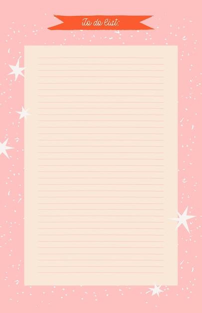 Planner, Organizer Do Druku Pink Star. Ręcznie Rysowane Zimowe Ozdobne Notatki, Lista Rzeczy Do Zrobienia I Do Kupienia. Premium Wektorów