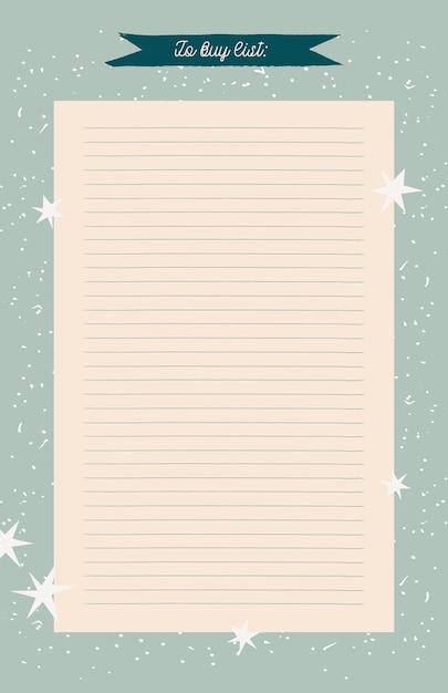 Planner, Organizer W Stylu Retro Do Druku. Ręcznie Rysowane Zimowe Ozdobne Notatki, Lista Rzeczy Do Zrobienia I Do Kupienia. Premium Wektorów