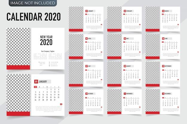 Planner szablonu kalendarza 2020. kalendarz nowy rok wektor w czysty i prosty styl Premium Wektorów