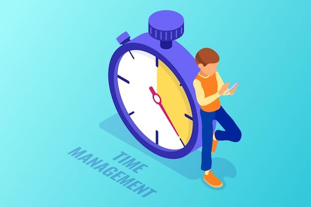 Planowanie Harmonogramu I Zarządzanie Czasem Za Pomocą Stopera I Człowieka Z Tabletem Premium Wektorów