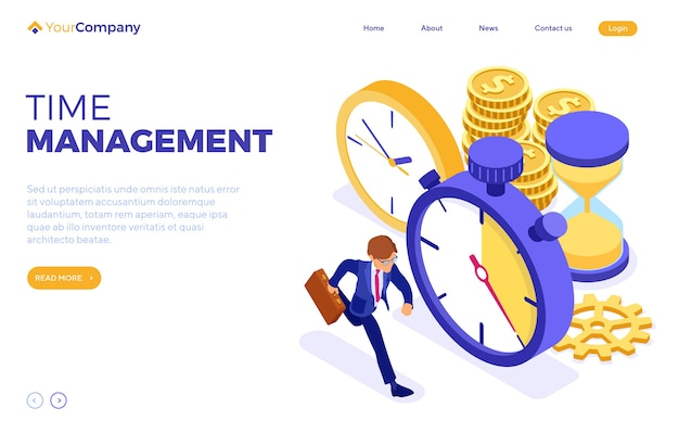 Planowanie Harmonogramu Lub Zarządzanie Czasem Ze Stoperem, Klepsydrą I Biznesmenem Premium Wektorów