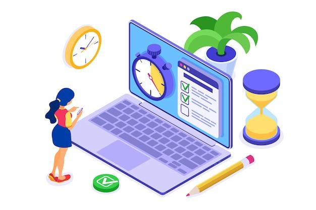 Planowanie Harmonogramu Planowania Dziewczyna Planowania Pracy Premium Wektorów