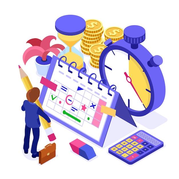 Planowanie Harmonogramu Planowania Pracy Biznesmen Premium Wektorów