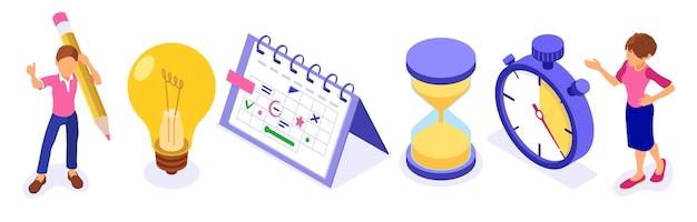 Planowanie Harmonogramu Zarządzania Czasem I Planowanie Pracy Z Domu Dzięki Stoperowi Wyznacza Cele Premium Wektorów