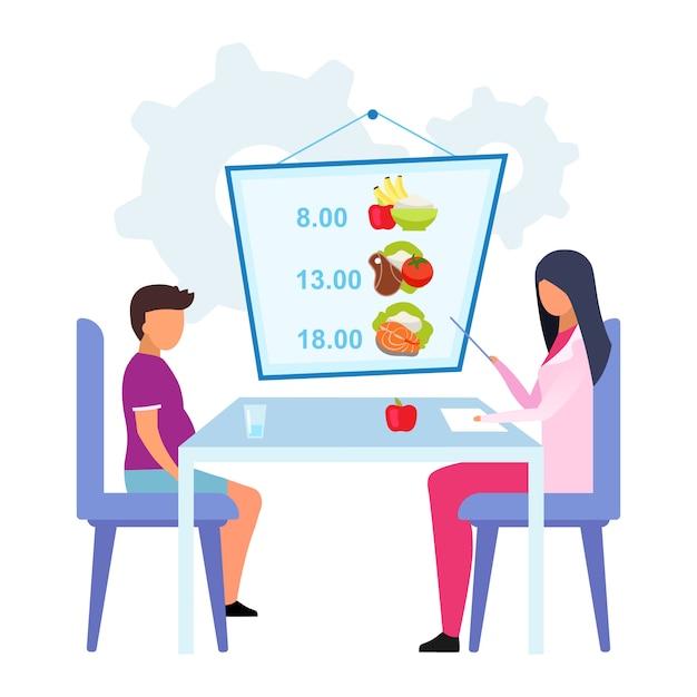 Planowanie Posiłków Dla Dzieci Płaski Ilustracja. Kobiety Lekarka, Dietetyk Wyjaśnia Zdrowego Spożycie żywności Rozkład Odizolowywającego Postać Z Kreskówki Na Białym Tle. Dietetyk Pomaga Otyłemu Chłopcu Premium Wektorów