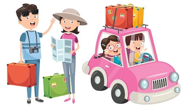 Planowanie Rodziny Na Wakacje Z Zabawnym Samochodem Premium Wektorów