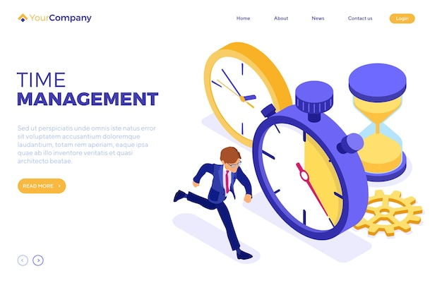 Planowanie Zarządzania Czasem Harmonogramu Z Zegarem Stopera Premium Wektorów
