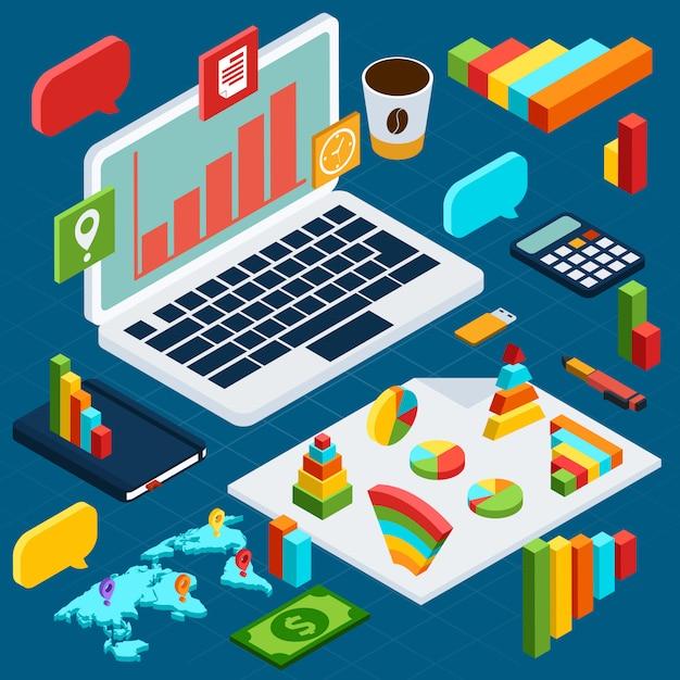 Plansza analizy danych izometrycznych Premium Wektorów