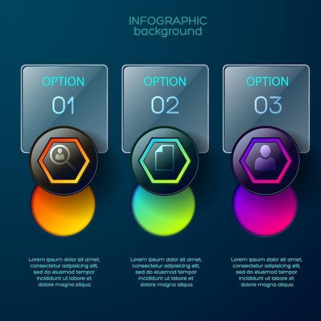 Plansza Biznesowa Koncepcja Z Trzema Prostokątnymi Błyszczącymi Polami Opcji Z Miejscem Na Edytowalny Tekst I Kolorowe Piktogramy Darmowych Wektorów